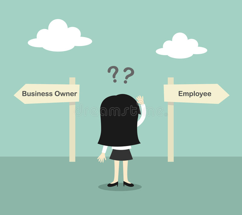 Business concept, Business woman confused about two direction, between business owner and employee. Vector illustration. Business concept, Business woman vector illustration