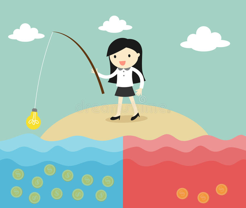 Business concept, business woman fishing coins by using idea. Vector illustration. stock illustration