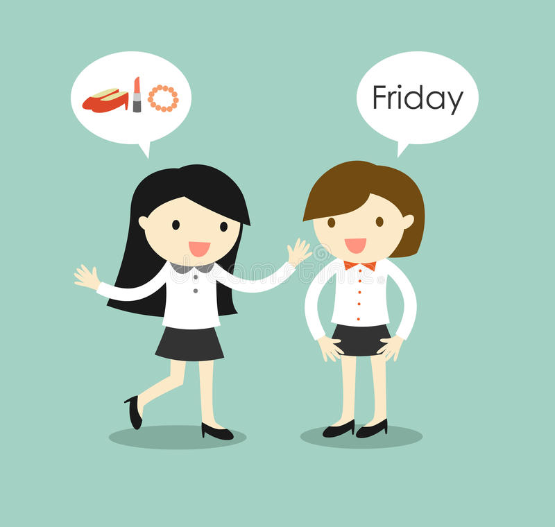 Business concept, business women planning to go to shopping after they finish work on Friday. Vector illustration. vector illustration