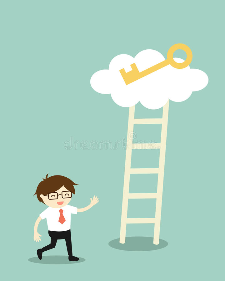 Business concept, Businessman going to climb the ladder for get a golden key. Vector illustration. royalty free illustration