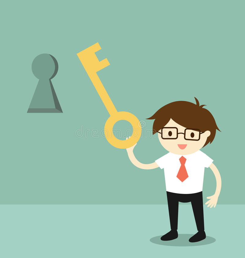 Business concept, Businessman holding a key to unlock keyhole on the wall. Vector illustration. vector illustration