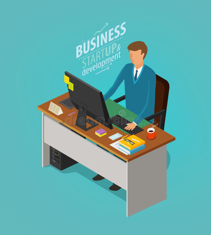 Business concept. Businessman, man sitting at desk with computer. Office worker, work, workplace, career icon. Flat royalty free illustration