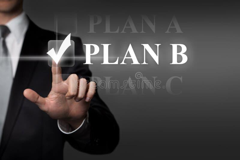 Business plan concept - businessman presses virtual touchscreen button - english term PLAN B royalty free stock images