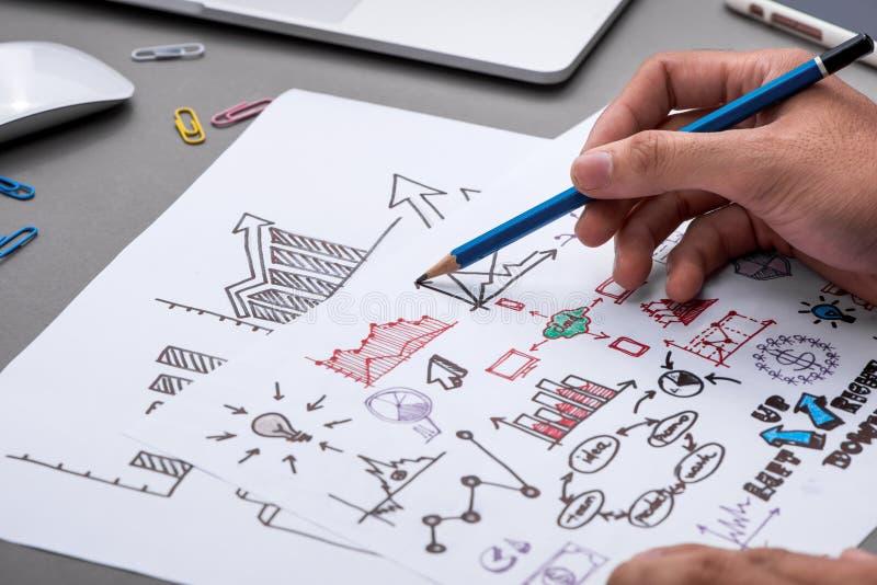 Business concept. Businessman writing idea sketch.  royalty free stock photos