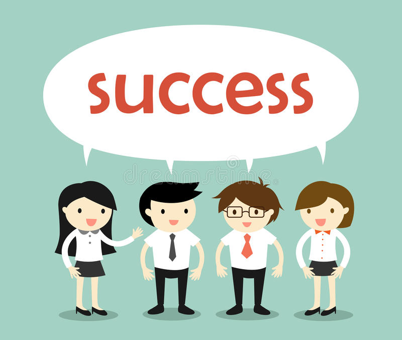 Business concept, businessmen and business women talking about success. Vector illustration vector illustration