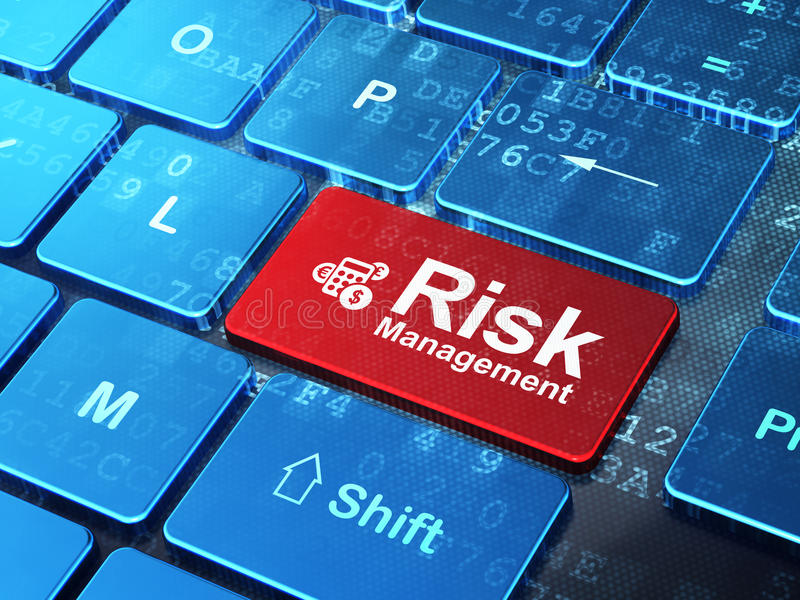 Business concept: Calculator and Risk Management. Business concept: computer keyboard with Calculator icon and word Risk Management on enter button background stock photos