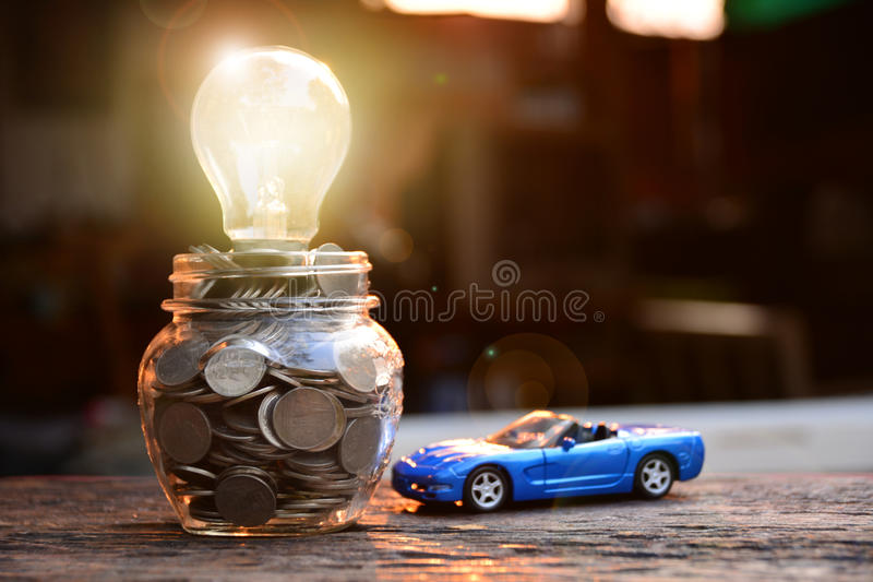 Business concept car insurance or sell and buy car, car financi. Ng. Light of bulb for ideas royalty free stock image
