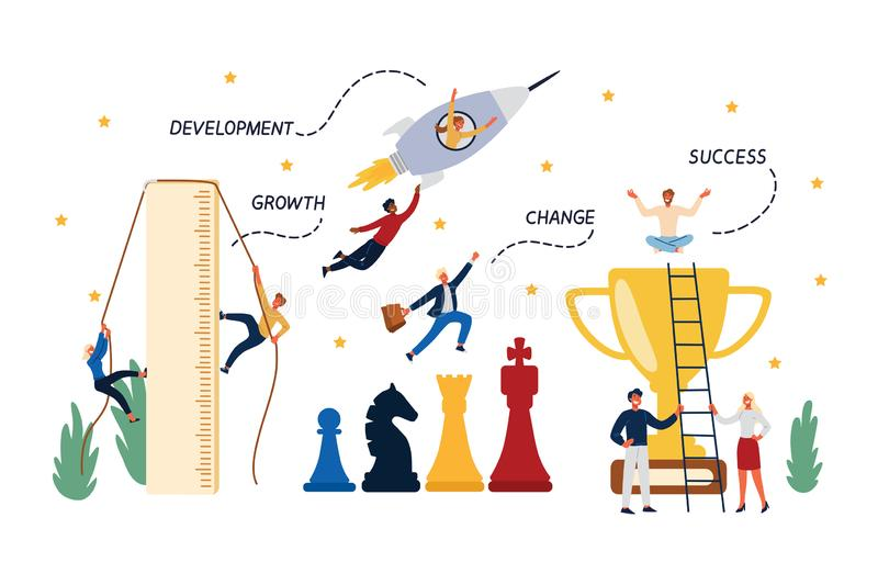 Business Concept of Career, Startup, Growth, Promotion, Development. royalty free illustration
