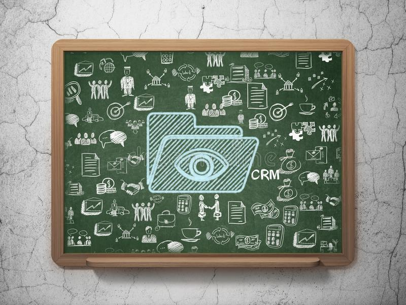 Business concept: Folder With Eye on School board background royalty free illustration
