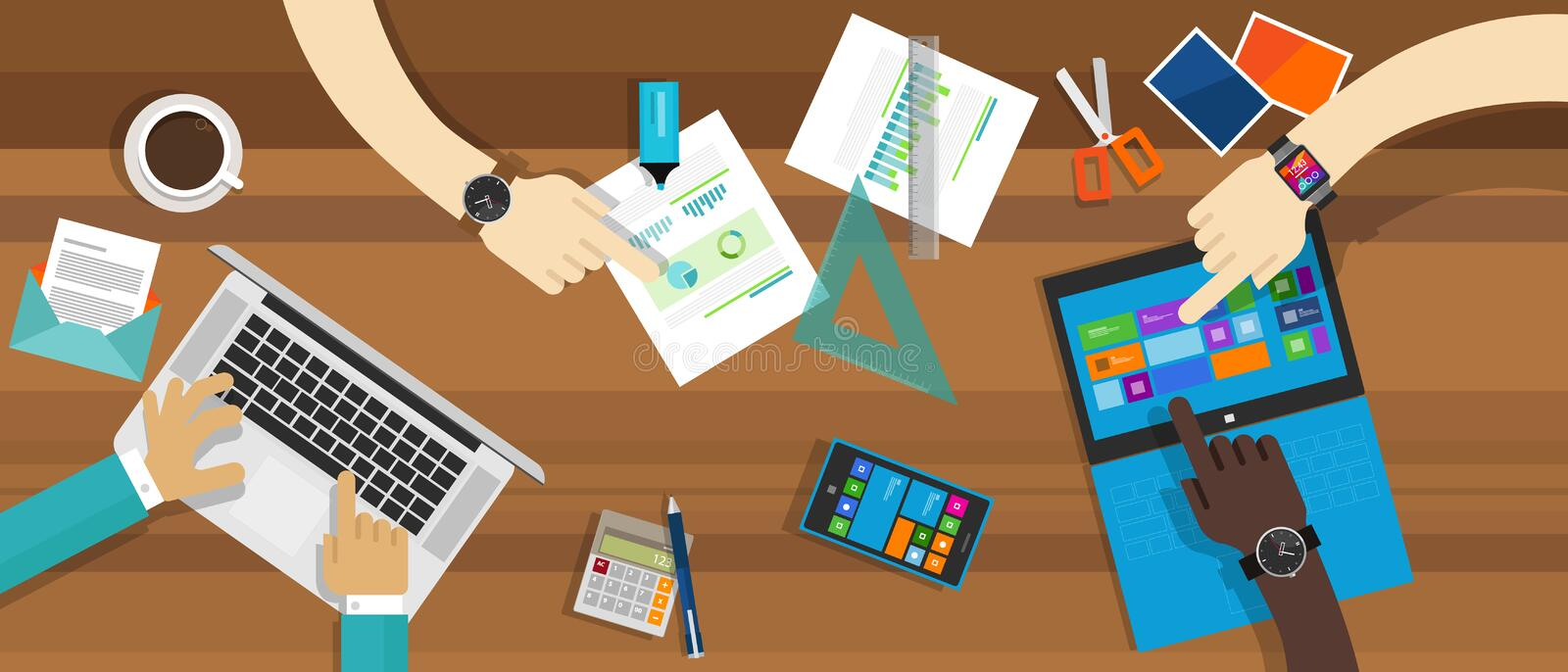 Business concept collaboration working desk. Each one shows their hands and items such as laptop, tablet and phone appear royalty free illustration