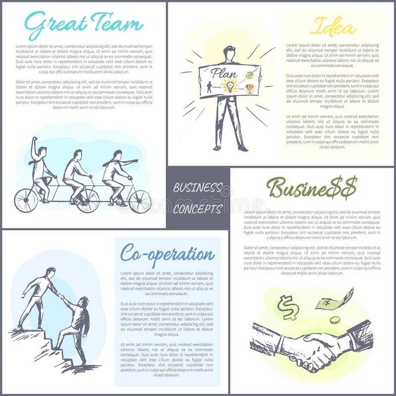 Business Concept Collection Vector Illustration. Business concept collection, posters and text samples, great time and co-operation, idea of cooperation at stock illustration