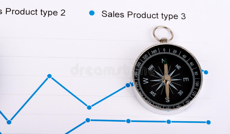 Business concept with compass and graph on paper.  royalty free stock photo