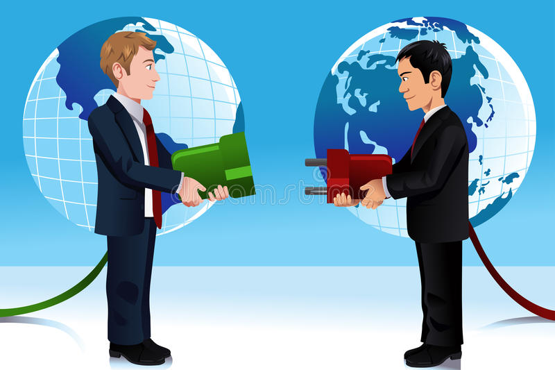 Business concept of connecting Eastern and Western world vector illustration