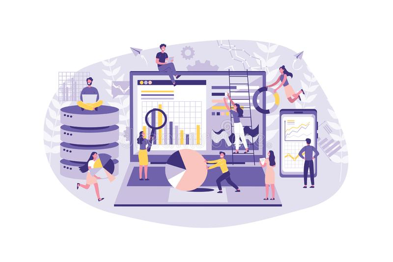 Business Concept Data analysis, Creative Teamwork, Audit. People conduct statistics Project on the Internet. Collective stock illustration