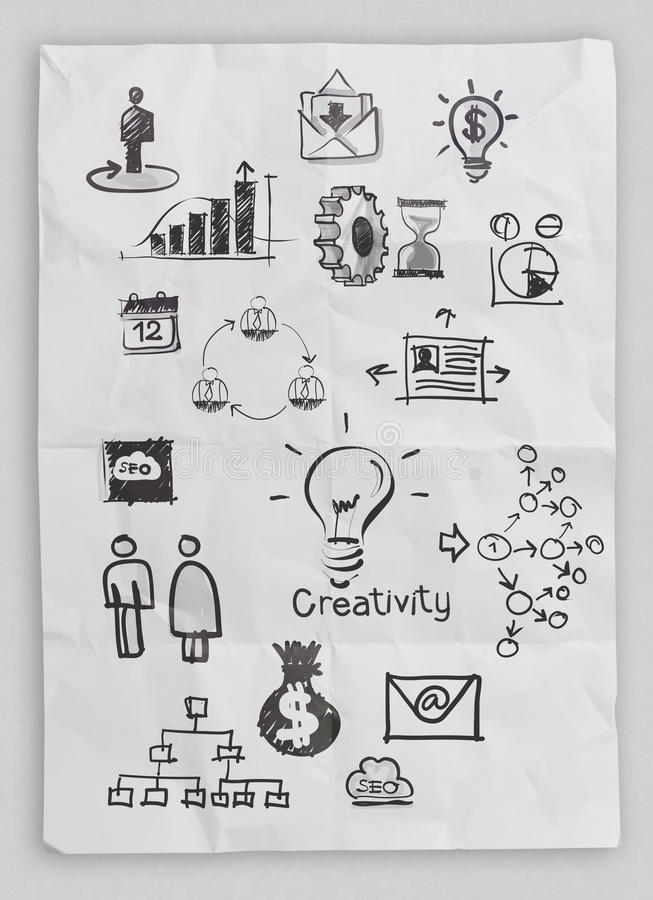 Business concept on crumpled paper and sticky note stock images