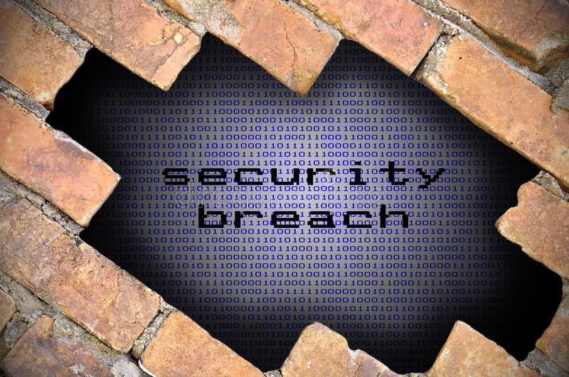 Business Concept For Data Security - Hole In Brick Wall With Bin. Ary Digit Background Inside With Secure Breach Word stock image