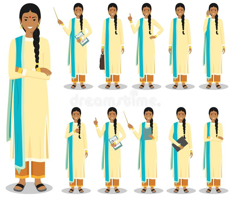 Business concept. Detailed illustration of indian businesswoman standing in different positions in flat style isolated vector illustration