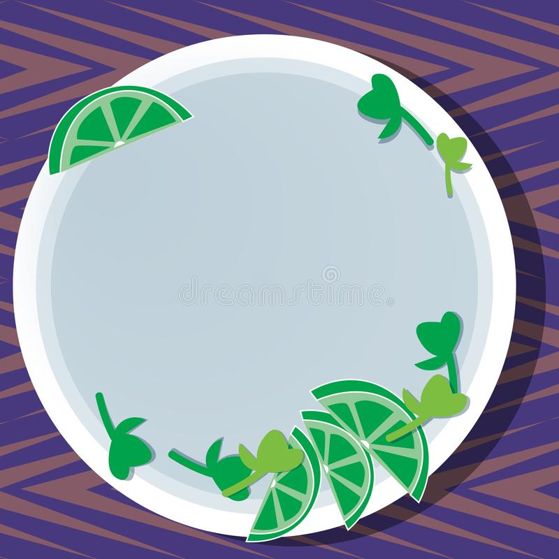 Business concept Empty template copy space isolated Posters coupons promotional material Cutouts of Sliced Lime Wedge. Business concept Empty template copy space stock illustration