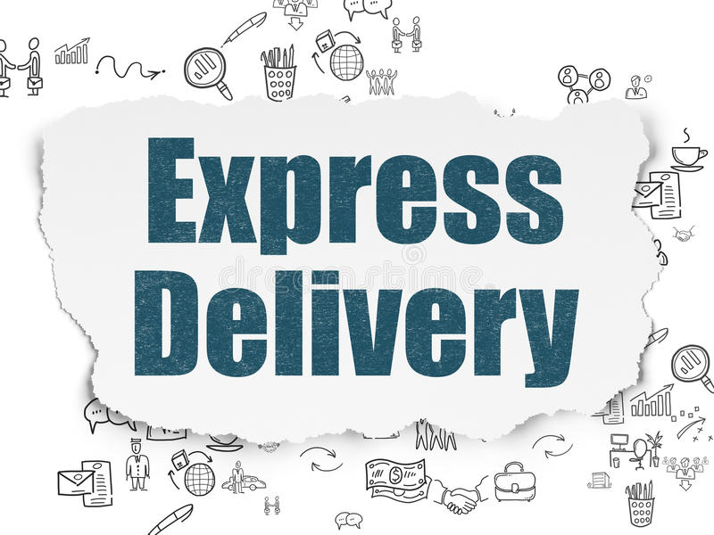 Business concept: Express Delivery on Torn Paper. Business concept: Painted blue text Express Delivery on Torn Paper background with Scheme Of Hand Drawn vector illustration