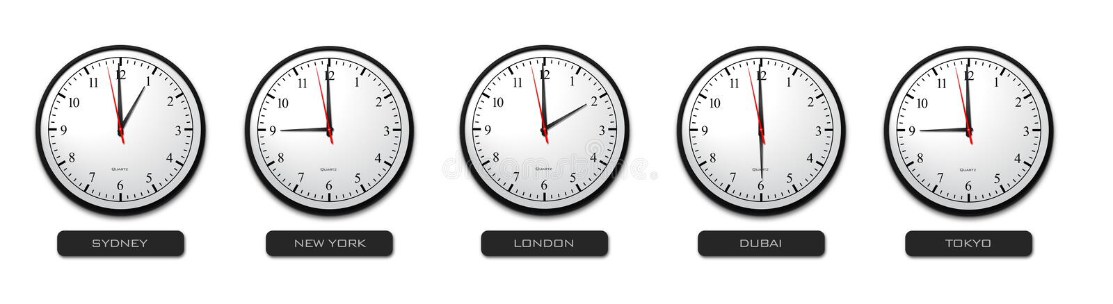 Business Concept - Time Zone Clocks. Business Concept - Five Time Zone Clocks stock illustration