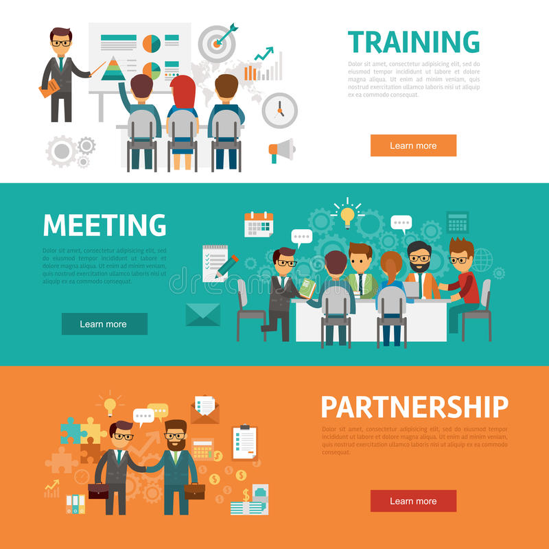 download business concept flat banners icons set of office meeting training agreement - Web Design Project Ideas