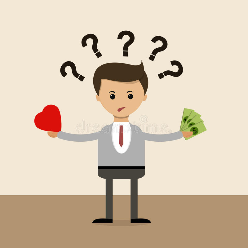 Business concept in flat design. The question of choice between love and money, family and career. Vector stock illustration