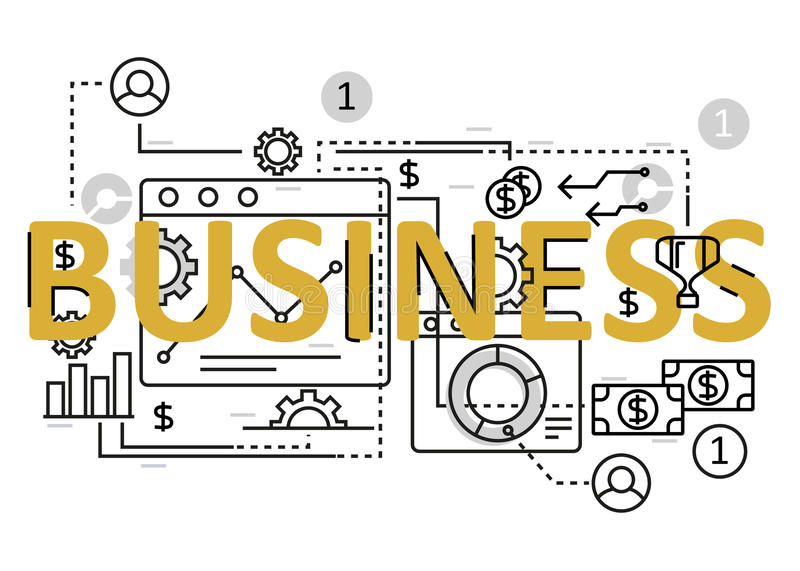 Business concept flat line design with icons and elements. Modern business concept s collection. Business concept lettering royalty free illustration
