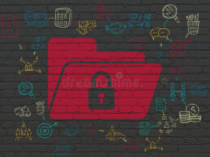 Business concept: Folder With Lock on wall background. Business concept: Painted red Folder With Lock icon on Black Brick wall background with Scheme Of Hand stock photo