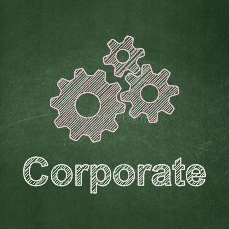 Business concept: Gears and Corporate on. Business concept: Gears icon and text Corporate on Green chalkboard background, 3d render stock illustration