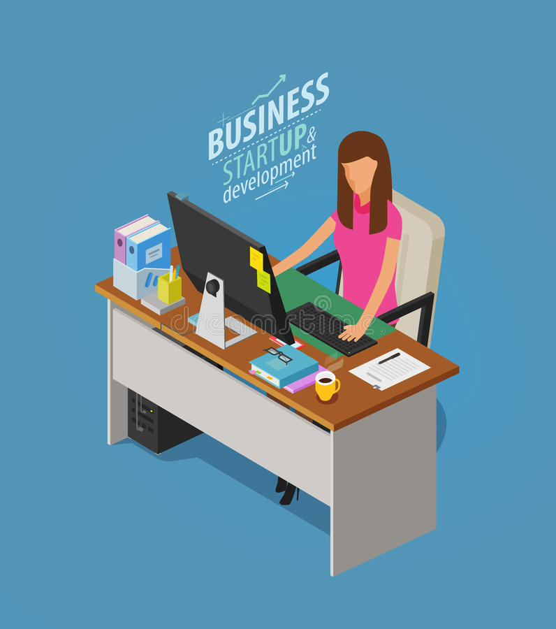 Business concept. Girl, woman sitting at desk with computer. Office worker, work, workplace icon. Flat vector vector illustration