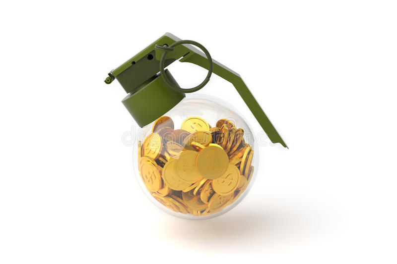 Business Concept, Grenade and Money, Bomb with coin. stock illustration