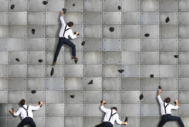 Business concept, a group of employees climbs royalty free stock photography