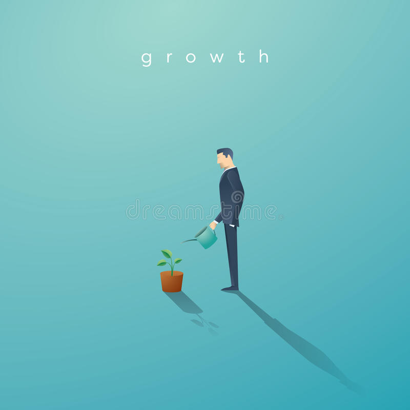 Business concept of growth. Businessman watering small green plant or tree. Symbol success, future. stock illustration