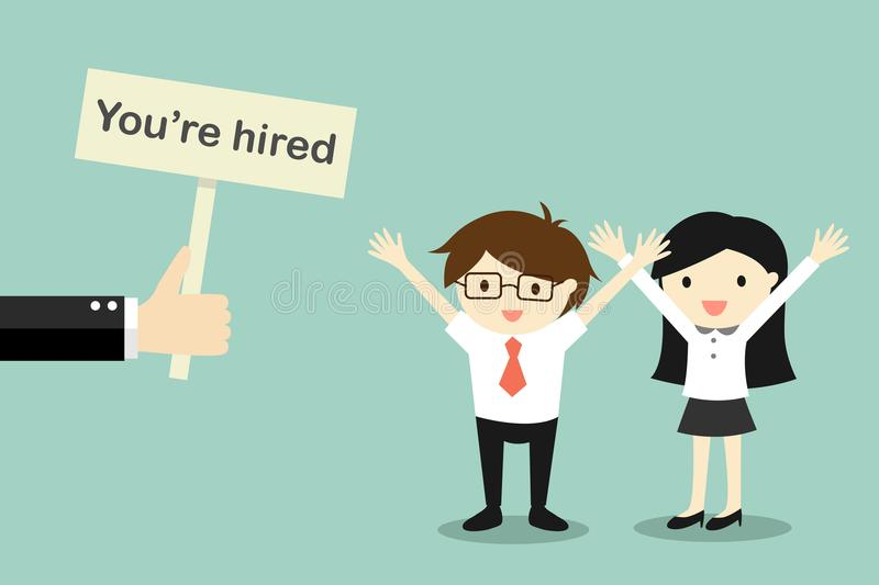 Business concept, Hand holding banner `You`re hired` to businessman and business woman. stock illustration