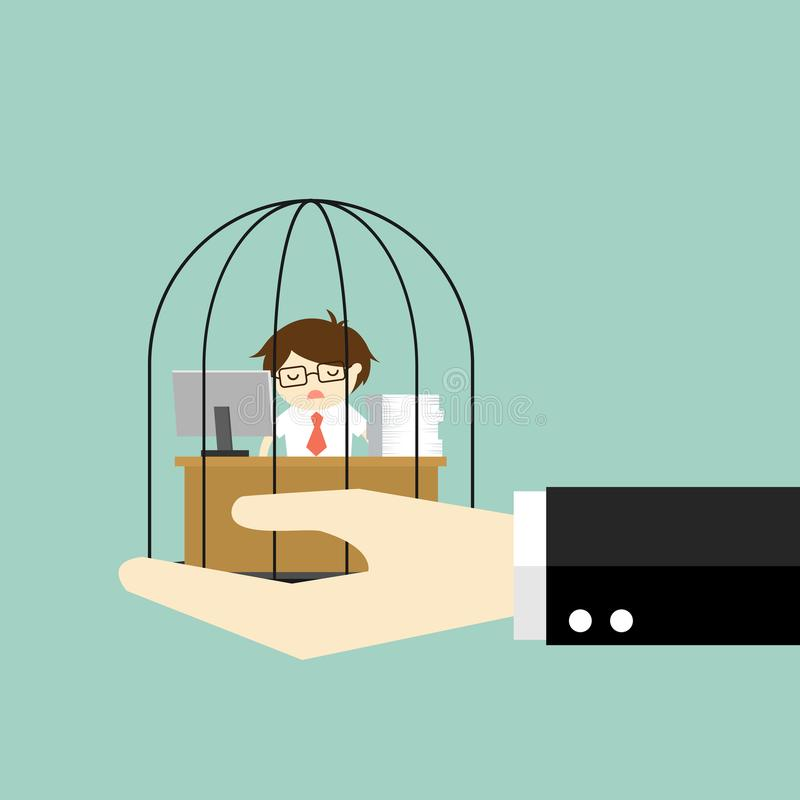 Business concept, Hand holding businessman who feel tired and bored while working in the prison. Vector illustration stock illustration