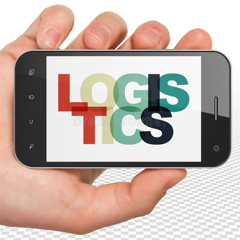 Business concept: Hand Holding Smartphone with Logistics on display. Business concept: Hand Holding Smartphone with Painted multicolor text Logistics on display stock image
