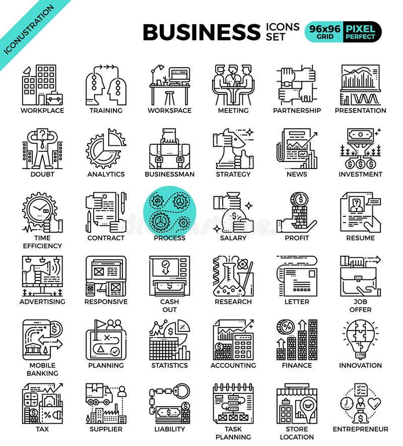 Business concept icon illustration set. In modern line icon style for ui, ux, website, web, app graphic design stock illustration