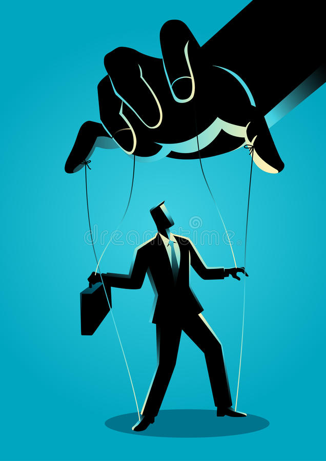 Businessman being controlled by puppet master royalty free illustration