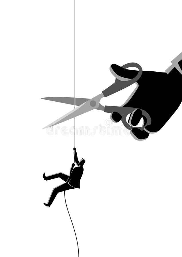 Businessman climbing on rope being cut with scissors stock illustration