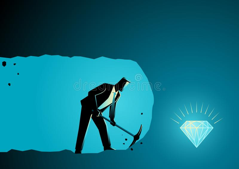 Businessman digging and mining to find treasure royalty free illustration