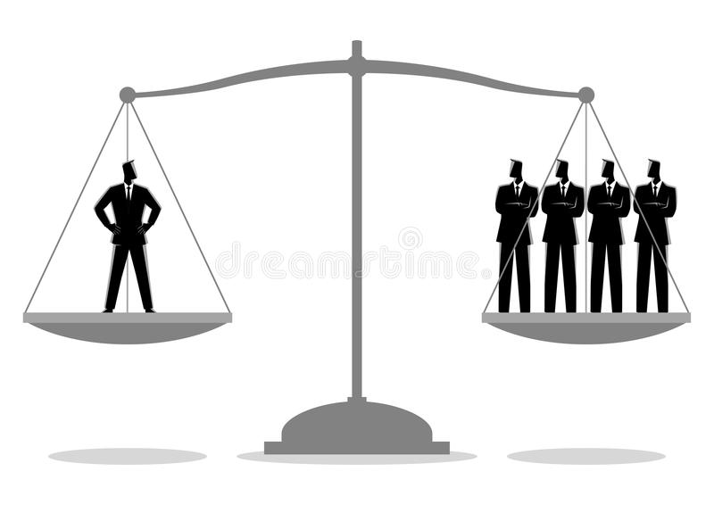 Businessman equal as four businessmen. Business concept illustration of a businessman equal as four businessmen, efficiency concept stock illustration