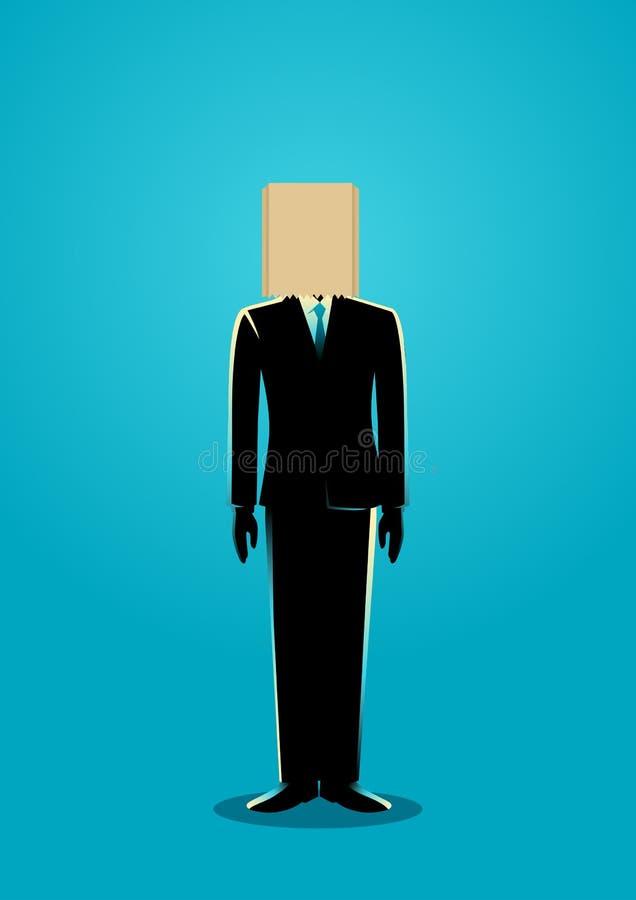 Paper Bag Head Businessman stock illustration