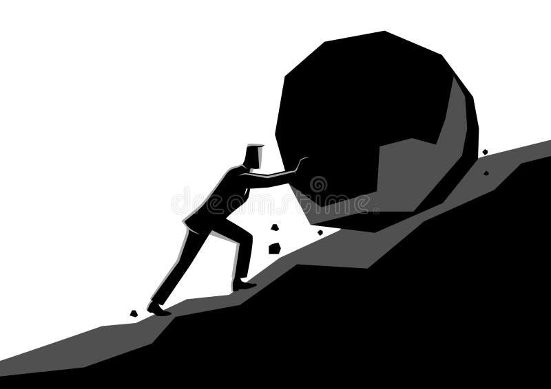 Businessman pushing large stone uphill stock illustration