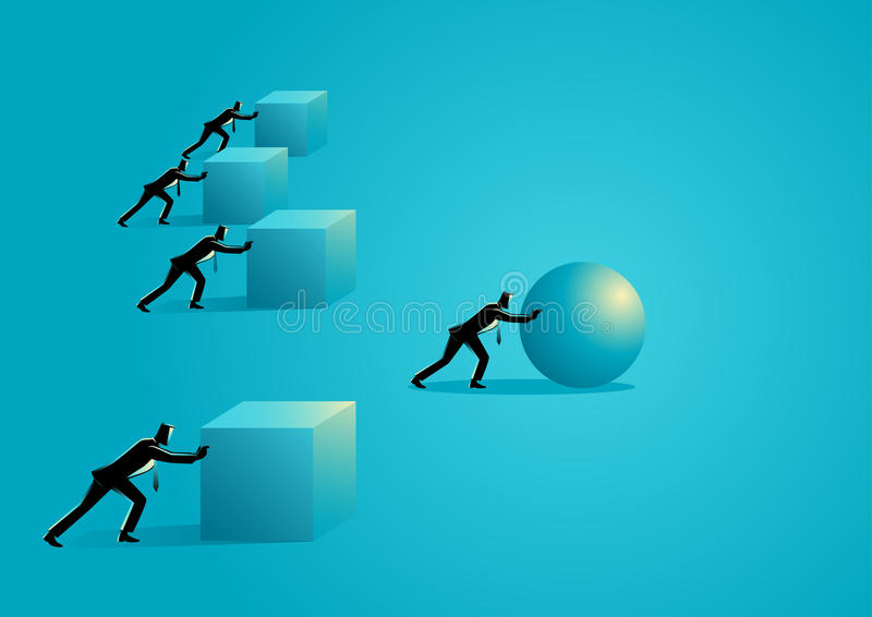 Efficiency in business. Business concept illustration of a businessman pushing a sphere leading the race against a group of slower businessmen pushing boxes vector illustration
