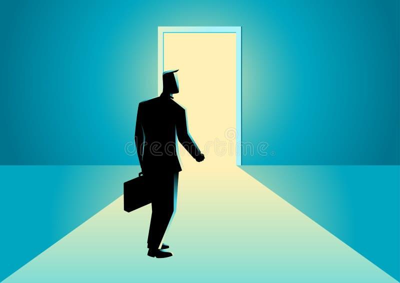 Businessman walking towards a bright door vector illustration
