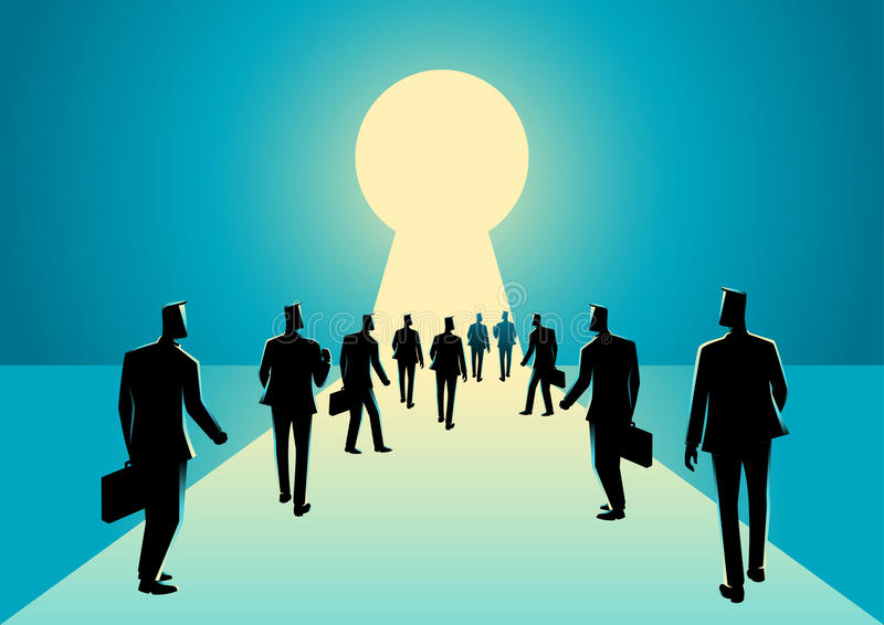 Businessmen walking into keyhole with bright light royalty free illustration