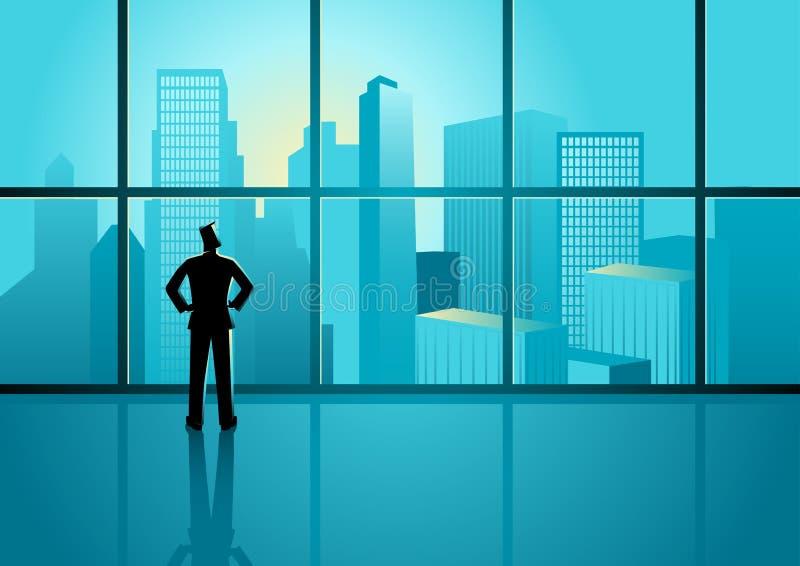 Businessman looking on cityscape through the window stock illustration