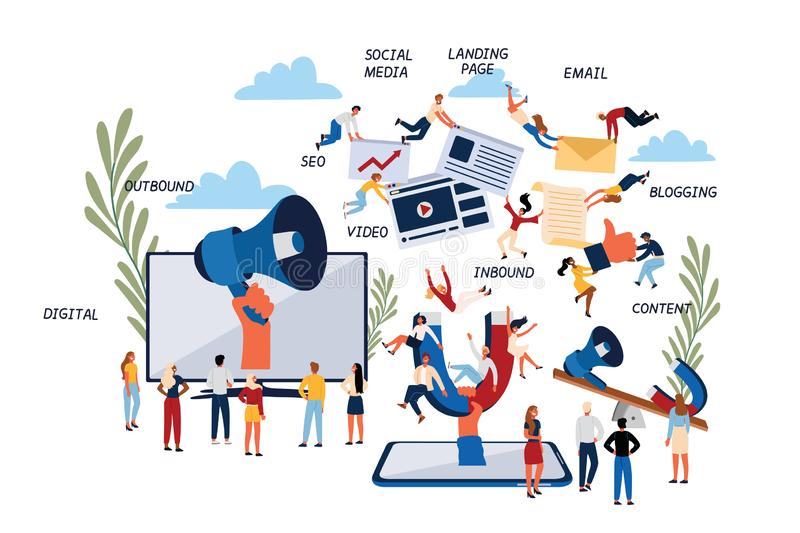 Business Concept of Inbound and Outbound Digital Marketing. stock illustration