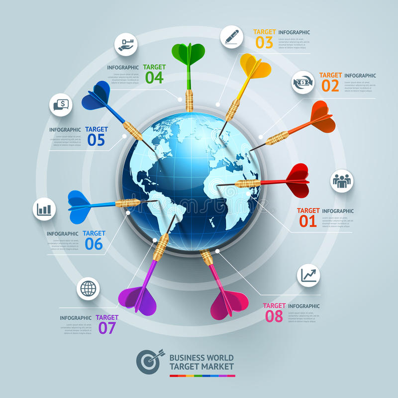 Business concept infographic template. Business world target mar royalty free illustration