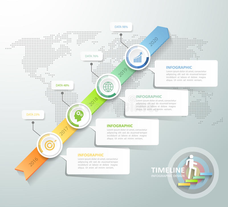 Business concept infographic template. Can be used for workflow layout, diagram, number options, timeline or milestones project stock illustration